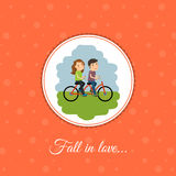 Couple rides a bicycle Royalty Free Stock Photos