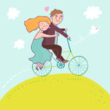 Couple riding a bicycle. Summer concept in vector illustration