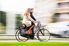 Couple riding bicycle Royalty Free Stock Images