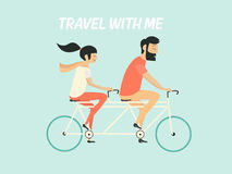 Couple riding bicycle. Hipster couple. Young couple riding bicycle. Travel with me Stock Photo