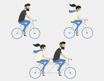Couple riding bicycle. Hipster style. Young couple riding bicycle set Royalty Free Stock Photography