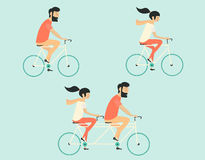 Couple riding bicycle. Hipster style. Young couple riding bicycle set Stock Photography