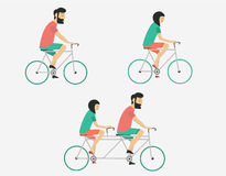 Couple riding bicycle. Hipster style. Young couple riding bicycle set Stock Photos