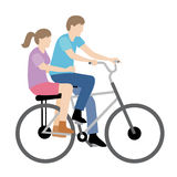 Couple riding bicycle. Vector illustration of couple riding bicycle Stock Illustration