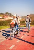 Couple riding bicycles in the nature Royalty Free Stock Images