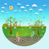 Couple Riding Bicycles In Public Park, Illustration, Flat Design Stock Photo