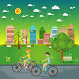Couple Riding Bicycles In Public Park, Illustration, Flat Design Royalty Free Stock Photos