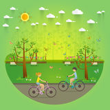 Couple Riding Bicycles In Public Park, Illustration, Flat Design Royalty Free Stock Image