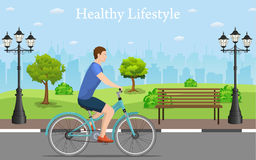 Couple Riding Bicycles In Public Park, Royalty Free Stock Image