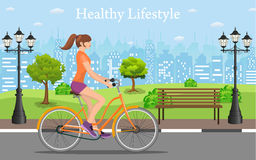 Couple Riding Bicycles In Public Park, Royalty Free Stock Photography