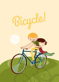 Couple riding bike. Cute characters on a bicycle template. vector illustration Royalty Free Stock Photos