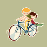 Couple riding bike. Vector character isolated Royalty Free Stock Image