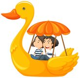 Couple riding duck pedal boat. Illustration Royalty Free Stock Images