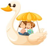 Couple riding duck pedal boat. Illustration Stock Photography