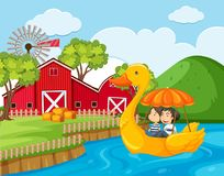 A Couple Riding Duck Pedal Boat. Illustration Royalty Free Stock Photography