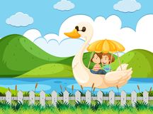 Couple riding duck pedal boat at river. Illustration Royalty Free Stock Photo