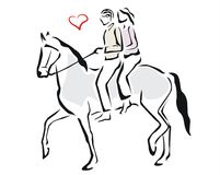 Couple riding a horse. Couple in love riding a horse Stock Photo