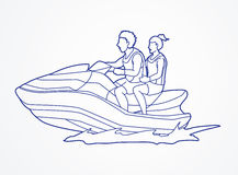 Couple riding jet ski Stock Photos