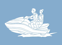 Couple riding jet ski Royalty Free Stock Image