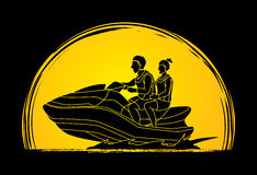 Couple riding jet ski Royalty Free Stock Images