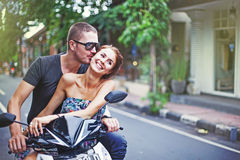 Couple riding motorcycle Royalty Free Stock Image