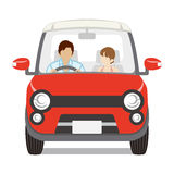Couple riding the Red car ,Front view - Isolated. 
