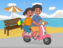 A couple riding a scooter at the beach street cartoon Stock Photography