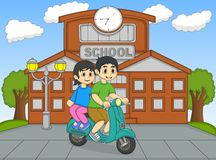 A couple riding a scooter in front of their school cartoon Stock Photos