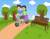 A couple riding a scooter in the park cartoon Royalty Free Stock Images