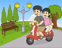 A couple riding a scooter at the park cartoon Stock Image