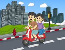A couple riding a scooter on the street cartoon Stock Image