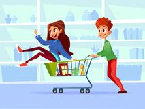 People with shopping carts vector cartoon illustration of family of man and pregnant woman with children in supermarket stock illustration