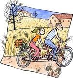 Couple riding tandem Stock Images