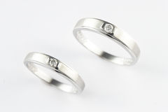 Couple Ring. Lovely White Gold Couple Ring Royalty Free Stock Photos