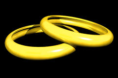 Couple rings (3D) Stock Images