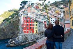 Couple in Riomaggiore Cinque Terre Italy Stock Image