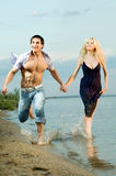 Couple on river Royalty Free Stock Photography