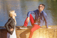 Couple on the river Royalty Free Stock Photography
