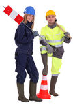 A couple of road workers. Royalty Free Stock Image