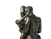 Couple of robotic man and woman Stock Photos