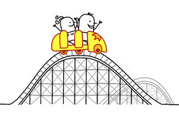 Couple on roller coaster vector illustration
