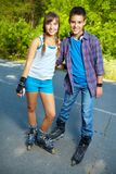 Couple of roller skaters Royalty Free Stock Photography