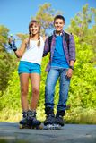 Couple on roller skates Royalty Free Stock Photos