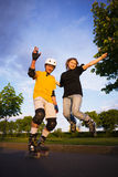 Couple rollerblading Royalty Free Stock Photo