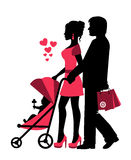 Couple rolls the stroller with a baby. Near the silhouettes of hearts royalty free illustration
