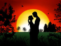 Couple in Romance. Romantic couple at in the evening with nice sunset Royalty Free Stock Images