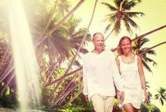 Couple Romance Beach Love Island Concept Stock Image