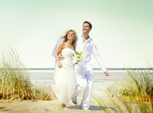 Couple Romance Beach Love Marriage Concept Stock Photo