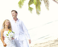 Couple Romance Beach Love Marriage Concept Stock Images
