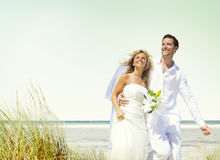 Couple Romance Beach Love Marriage Concept Stock Photo